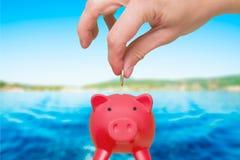 Sätta myntet in i spargrisen - besparingbegrepp ferie Tra Royaltyfri Bild
