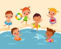 sätta på land barn royaltyfri illustrationer