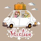 sätta på land barn för white för semestern för sanden för familj fyra tropiskt royaltyfri illustrationer