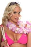 sätta på land den blonda bikinin Royaltyfri Fotografi