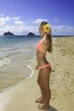sätta på land den härliga bikiniflickan arkivfoto