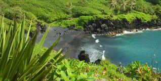 sätta på land den svarta maui sanden Royaltyfri Foto