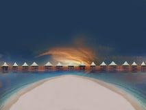 sätta på land den tropiska solnedgången Royaltyfri Foto