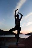 sätta på land det carefree begreppet som dansar den sunda strömförande kvinnan för solnedgångsemestervitaliteten sunt bosatt be Arkivbild