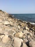sätta på land härliga svarta den varma ukraine för sommaren för sudak för naturhavsseacoasten sikten svart crimea hav arkivbilder