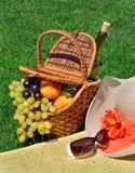 Sätta på land hatten, solexponeringsglas, picknickkorgen med frukter och flaskan av Arkivbild