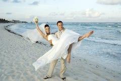 sätta på land karibiskt celebröllop Fotografering för Bildbyråer