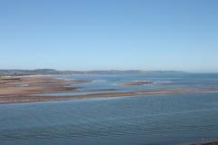 Sätta på land och munnen av floden södra Esk Montrose Scotland Arkivfoto