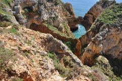 Praia da Piedade, Algarve, Portugal, Europa Royaltyfri Foto