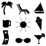 Sätta på land semestern Uppsättning av vektorsymboler för din design vektor illustrationer
