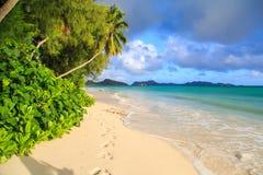 sätta på land seychelles Arkivfoto