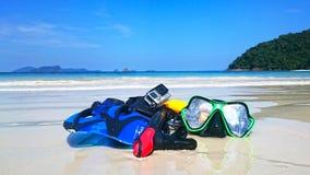 sätta på land snorkelen royaltyfri foto