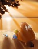 sätta på land solnedgången Arkivbild