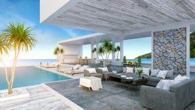 Sätta på land vardagsrummet, soldagdrivare på att solbada däcket och den privata simbassängen med panorama- havssikt på den lyxig royaltyfri bild