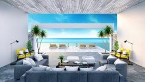 Sätta på land vardagsrummet, soldagdrivare på att solbada däcket och den privata simbassängen med panorama- havssikt på den lyxig arkivfoto