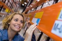 Sättande priser för lycklig lagerarbetare på hyllor royaltyfria bilder