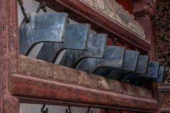Sätter en klocka på den stora Hall för den Yunnan Honghe prefekturJianshui templet borggården Arkivbild