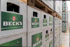 Sätze des abgefüllten Bieres in einem Speicherlos im Freien Lizenzfreies Stockfoto