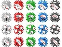 4 Sätze Pokerchips - je 5 Stücke stockfotografie