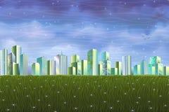 Säubern Sie ökologische Stadt über grüner Sommerwiese Lizenzfreie Stockfotografie