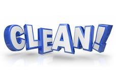 Säubern Sie blaue Buchstabe-Safe-Sauberkeit des Wort-3d Stockbild