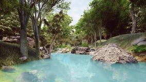 Säubern Sie Fluss mit blauem Wasser im Wald Stockfoto