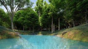 Säubern Sie Fluss mit blauem Wasser im Wald an der Tageszeit Lizenzfreie Stockfotografie