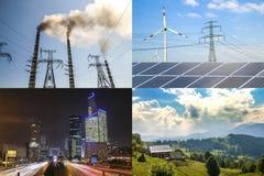 Säubern Sie gegen schmutzige Energie Sonnenkollektoren und Windkraftanlagen gegen fu Stockfotografie