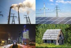 Säubern Sie gegen schmutzige Energie Sonnenkollektoren und Windkraftanlagen gegen fu Stockfoto