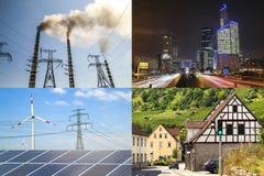 Säubern Sie gegen schmutzige Energie Sonnenkollektoren und Windkraftanlagen gegen fu Stockfotos