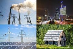 Säubern Sie gegen schmutzige Energie Sonnenkollektoren und Windkraftanlagen gegen fu Stockbild