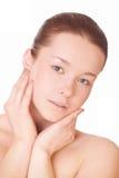 Säubern Sie Haut des Gesichtes Stockbild