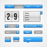 Säubern Sie hellblaue Benutzerschnittstellen-Kontrollen Abstrat Abbildung Website, Software UI: Knöpfe, Rangierloks, Pfeile, Drop Lizenzfreies Stockfoto