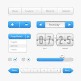 Säubern Sie hellblaue Benutzerschnittstellen-Kontrollen Abstrat Abbildung Website, Software UI: Knöpfe, Rangierloks, Pfeile, Drop Lizenzfreies Stockbild