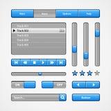 Säubern Sie hellblaue Benutzerschnittstellen-Kontrollen Abstrat Abbildung Website, Software UI: Knöpfe, Rangierloks, Schieber stock abbildung