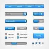 Säubern Sie hellblaue Benutzerschnittstellen-Kontrollen Abstrat Abbildung Website, Software UI: Knöpfe, Rangierloks, Schieber, Pf lizenzfreie abbildung