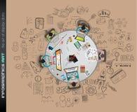 Säubern Sie Infographic-Plan-Schablone für Daten- und Informationsanalyse vektor abbildung