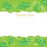 Säubern Sie Lebensmittelentwurfsikonen auf grünem Hintergrundkonzept Lizenzfreie Stockfotos