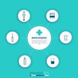 Säubern Sie Medizin infographics Schablone mit Apotheke und medizinischen linearen Ikonen Konzept für medizinische Hilfe Flacher  Stockbild