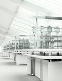 Säubern Sie modernen weißen Laborinnenraum stockbild