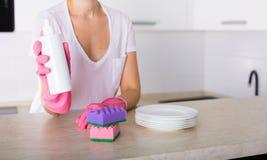 Säubern Sie Teller in der Küche Lizenzfreies Stockbild
