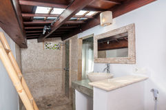Säubern Sie Toilette mit Dusche Stockfotografie