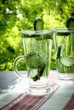 Säubern Sie Trinkwasser mit Gurke und Dill in einem Glas auf einer Linie Lizenzfreie Stockfotografie