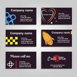 Säubern Sie Visitenkarte Ein Satz von sechs Schablone in der dunklen Art Lizenzfreies Stockfoto