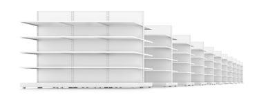 Säubern Sie weiße Gestellregale für das Produktdarstellen Stockfoto
