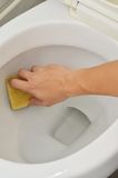 Säubern in Toilette stockbild
