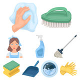 Säubern, waschend und alles angeschlossen mit ihm Ein Satz Ikonen für das Säubern Reinigungs- und Mädchenikone im Satz vektor abbildung