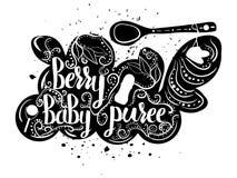 Säuglingsnahrung von den Trauben auf einem weißen Hintergrund Babypüree Vektor Lizenzfreies Stockfoto