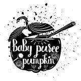 Säuglingsnahrungskürbis auf einem weißen Hintergrund Vektor Lizenzfreie Stockfotografie