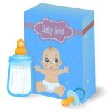 Säuglingsnahrungssatz und Milchflasche Stockbilder
